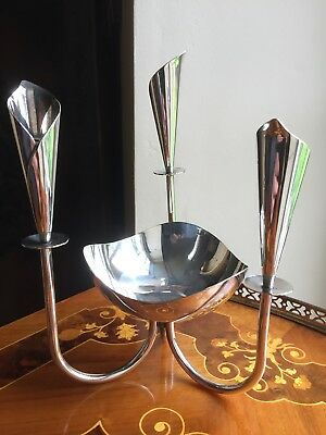 vintage Silver Plated Bowl Mounted In A Trio Of Bud Vases