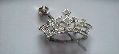 NEW Order of the Eastern Star Pin Officer Rhinestone Jewel - Crown and Scepter