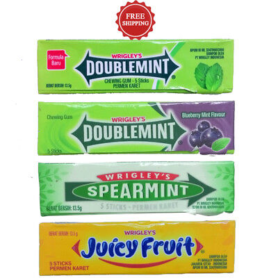 Wrigley's Chewing Gum Doublemint Blueberry Spear Fruit 1 lot.=4 Pack = 20 Sticks