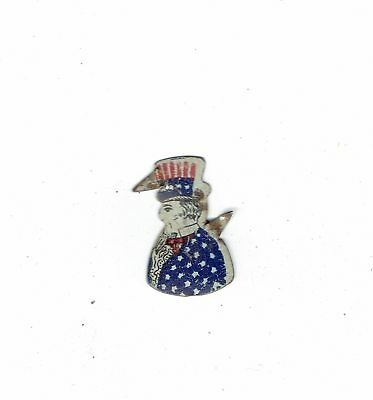 Vintage Uncle Sam Metal Tobacco Tag Both Pins Intact Some Light Wear Nice Detail