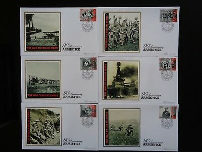 THE GAMBIA 2008 90th ANNIV OF ARMISTICE 6 x BENHAM SILK COMMEMORATIVE COVERS