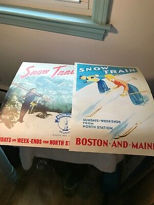 Boston And Maine Railroad Snow Train Posters—Very Good Condition—Skiing Posters