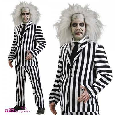 Mens Beetlejuice Deluxe Costume Adult Halloween Horror Ghost Fancy Dress Outfit