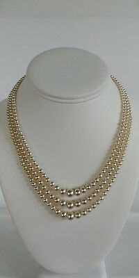 """Stunning Vintage 16"""" Silver Tone Signed Japan 3 Strand Graduated Pearl Necklace"""