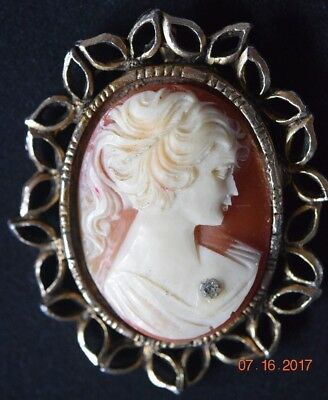 CAMEO PENDENT  -  Carved Shell with crystal