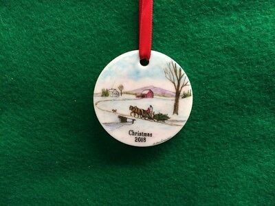 COLOR SCRIMSHAW CHRISTMAS 2018 ORNAMENT by HARBOUR  of BRINGING HOME the TREE