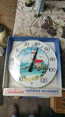 Vintage Sunbeam Outdoor Garage/shed/barn Thermometer Made In Usa