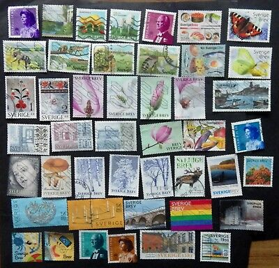 Sweden used stamps 2015-2018  45 different stamps collection