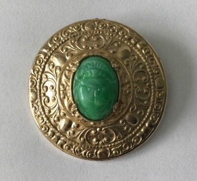 Vintage Egyptian Revival Gold Tone Carved Scarab Beetle Round Circle Brooch Pin
