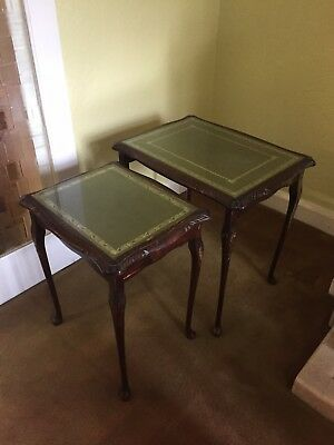 Antique Pair Of Serving Tables, Glass Top Smoking Vintage Stately Home Old