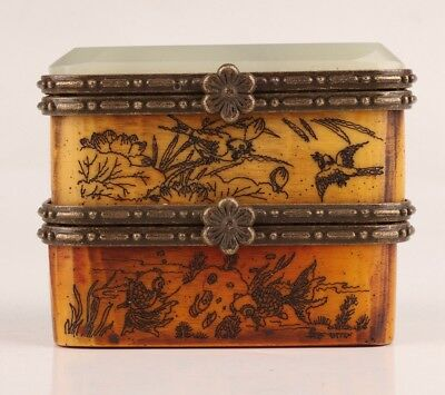 Vintage Chinese Cattle Bone Jewelry Box Double Hand-Painted Flower Emperor