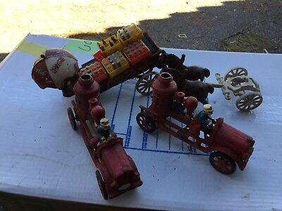 Vintage Cast Iron Fire Trucks And Coca-Cola Horse And Wagon