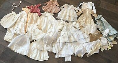 Lot of 34 Pcs. Antique Vintage Doll Clothing Lace Dresses Skirts Petticoats- WOW