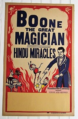 Antique BOONE THE GREAT MAGICIAN~HINDU MIRACLES~VAUDEVILLE COMEDY Show Poster