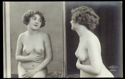 French Nude Real Photo Postcard - Girl In Mirror - Ex Cond - Rppc - Sapi # 2582
