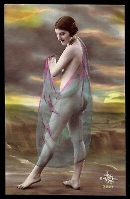 FRENCH NUDE at BEACH - REAL PHOTO POSTCARD - HAND-TINTED - RPPC - SOL # 3223
