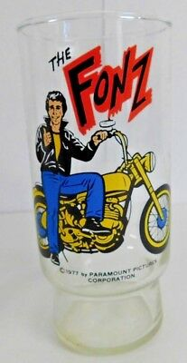 1977 Dr Pepper Happy Days The Fonz Motorcycle Pizza Hut Glass
