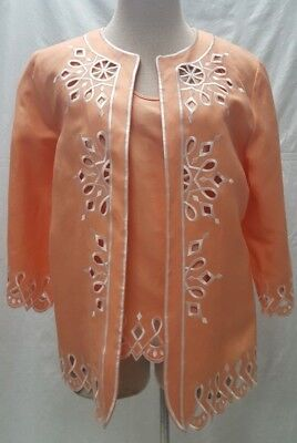 Bob Mackie Peach Size S Two piece cut out embroidered tank & blazer *New*