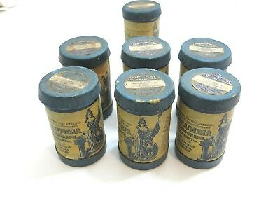 Lot Of 6 Antique Columbia Graphophone Phonograph Cylinder Records Blue Cases