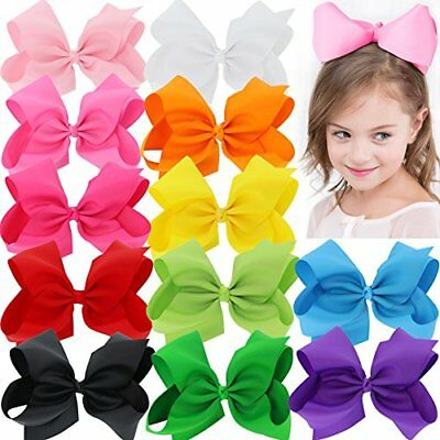 BIG 8 Inches Hair Bows For Girls Grosgrain Boutique Hair Bow Clips For Teens 12