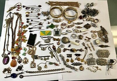 Lot of 120 Victorian/Art Deco Etc Vintage/Antique Sterling & Costume Jewelry