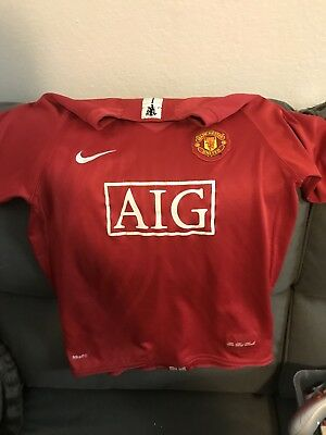 new concept 32e4e 52dc8 MANCHESTER UNITED AIG Cristiano Ronaldo Jersey Home Red Devils Soccer Youth  XL