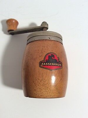 ZASSENHAUS Vintage Wooden Hand Crank Pepper Grinder Made In Germany
