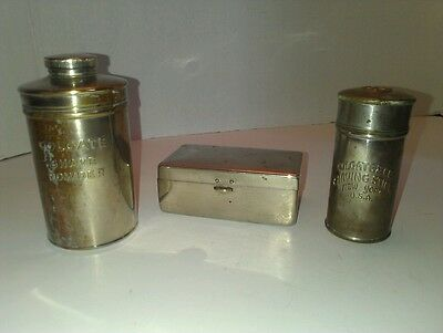 Vintage Colgate Shaving Stick, Shaving Powder Metal Containers and Steel Box