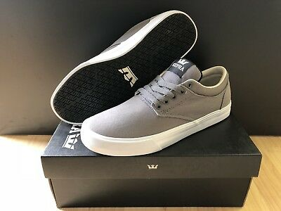 41d37dbcd07d SUPRA CHINO MENS Gray Suede   Canvas Sneakers Lace Up Skate Shoes ...