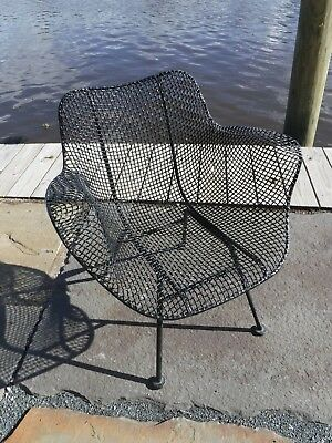 4 Russell Woodard Mid Century Modern Sculptura wrought iron Patio chairs set