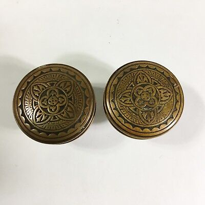 Antique Solid Brass Door Knob Set Eastlake Art Nouveau Victorian