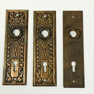 lot 3 Antique Ornate Eastlake Art Nouveau Victorian metal Door Back Plates
