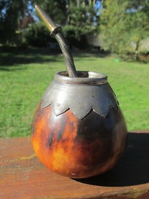 Vintage ALPACA INDUSTRIA ARGENTINA Yerba Mate Gourd and Bombilla Silver and 18K