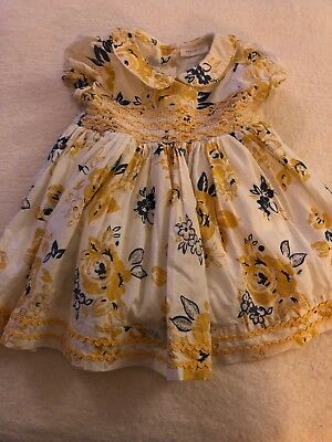 Baby Girl Smocked Peter Pan Collar Dress Navy Gold 3-6 Months NEXT