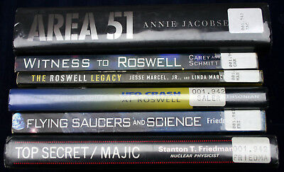 6 book lot AREA 51 ROSWELL FLYING SAUCERS UFO TOP SECRET MAJIC HCDJ ex-library