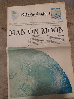 VINTAGE Men Land on Moon July 21, 1969 Exc. Cond!! Orlando Sentinal Newspaper