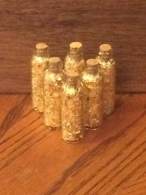 Gold Flakes in 5 ML Glass Bottles With Cork (Lot of 6)