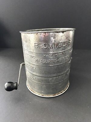 VTG Bromwell's Measuring Sifter Flour Wood Handle Tin USA Primitive Kitchen