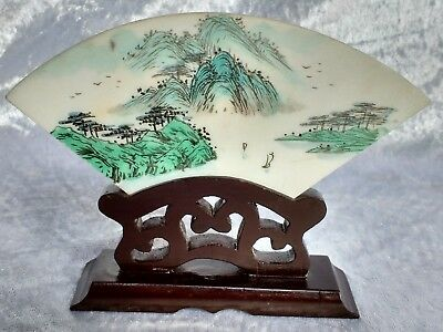 Pair of Vintage Chinese handpainted marble plaques on wooden stands riverscapes