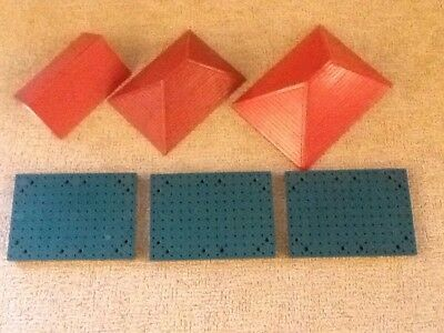 Job Lot of 3 Vintage Bayko Red Roofs And 3 Base Plates