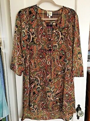 Peasant Tunic Embroidered Ethnic Bohemian Boho L Xl Top