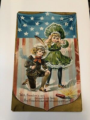 """ANTIQUE  Postcard  (RAPHAEL TUCK)  """"WITH FREEDOM'S SOIL BENEATH OUR FEET..."""""""