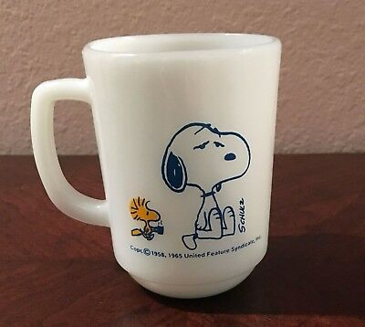 Schulz Fire King Snoopy Coffee Cup Mug I'm not worth a thing before coffee