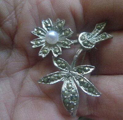 Vintage Marcasite Brooch 1960s Pearl-NZ Estate- 2 items or more post free