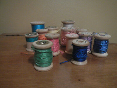 13 Vintage Asst. Sizes Wooden Thread Spools Various Labels Old Sewing