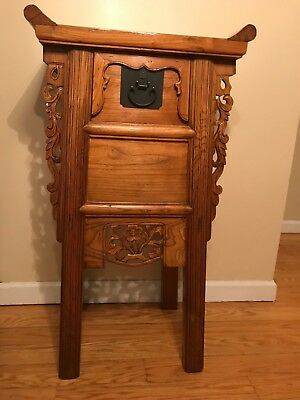 Pair of Chinese Antique Carved Hardwood Side Tables Nightstands