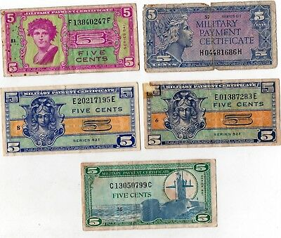 5 Cents Military Payment Certificate Series 521 541 611 681 Lot of 5