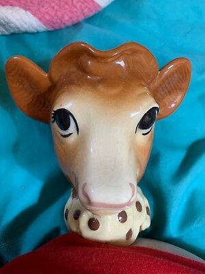 ESZ6424. VINTAGE: Borden's ELSIE THE COW Hand-Painted Ceramic Creamer (1950's)