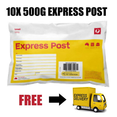 10 X 500G EXPRESS POST PREPAID Yellow SATCHELS *VALUE tax invoice available