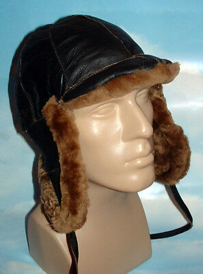 66ba231ed8941a NEW mens Sheepskin Russian Bomber Pilot Aviator Hat Real Leather and Gloves  DEAL